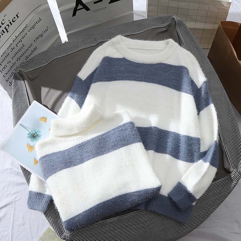 Winter Sweater Women Loose Korean Turtleneck Pullover Blue Striped Sweater Female Casual O-neck Long Sleeve Thick Knit Sweater
