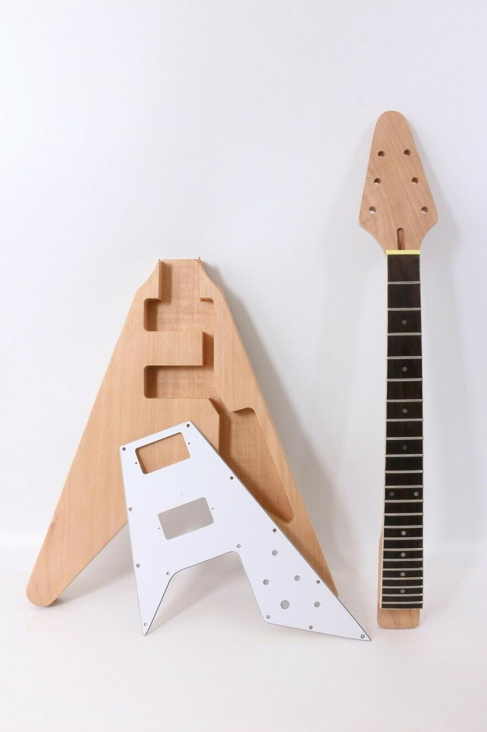 1set Electric Guitar Kit 22 Guitar Neck Guitar Body Mahogany Rosewood Flying V