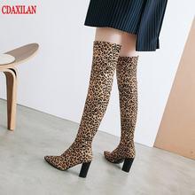 Новинка женские ботфорты cdaxilan из флока с острым носком сексуальные