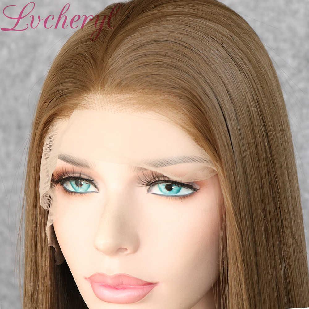 Lvcheryl 13x6 Braun 10# Farbe Freies Teil Futura Faser Haar Perücken Hitze Beständig Haar Gerade Synthetische Spitze Front perücke Täglichen Verschleiß