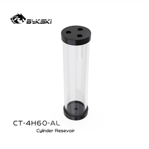 Image 3 - BYKSKI כסף 80/130/180/240mm X 60mm קוטר גלילי מים מקורר טנק אלומיניום סגסוגת קירור + אקריליק G1/4 מאגר