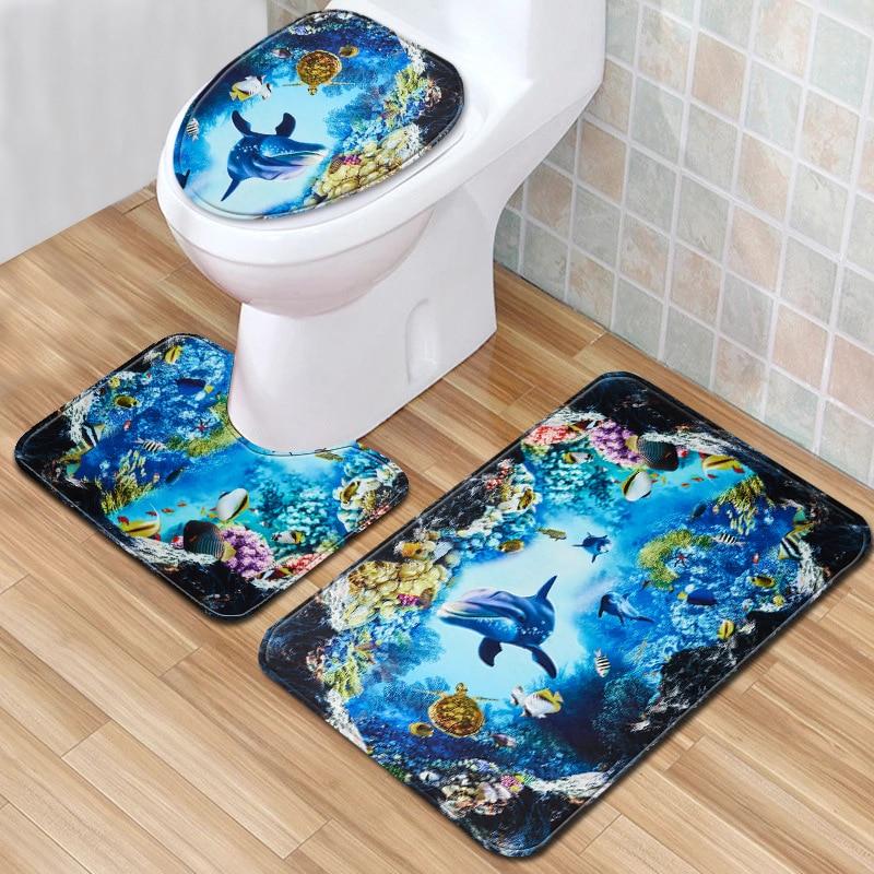 Toilet Accessories Dolphin 3 Piece Bathroom Rug Set 3D Bath Mats Bathmate Antislip Doormat Carpet for Home Decor 45*75cm