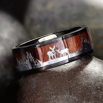 FDLK     Black Tungsten Hunting Ring Wedding Band Wood Inlay Deer Stag Silhouette Ring