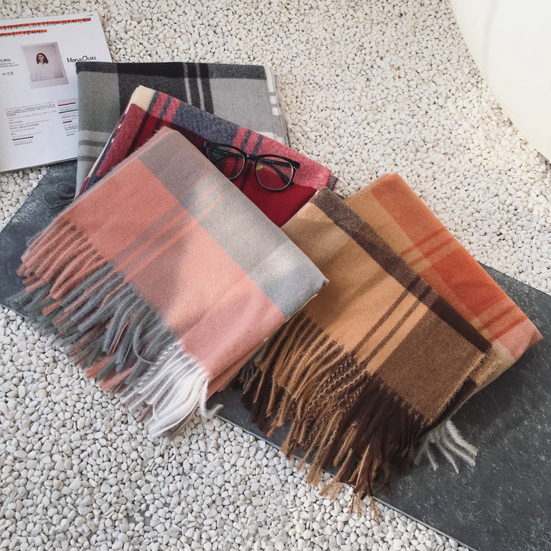 New Cashmere Plaid Scarf Thickened And Warm In Autumn And Winter Tassel Shawl Neck