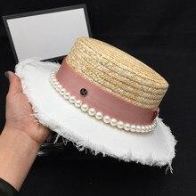 Novo chapéu de palha chapéu de palha patchwork feminino temperamento elegante pérola pára de viagem edição han maré tampa plana pequeno chapéu