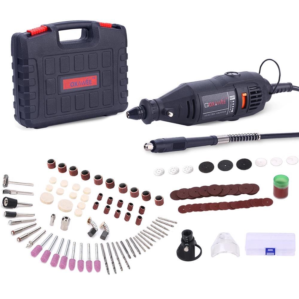 GOXAWEE Electric Drill Dremel Grinder Electric Engraving Mini Drill Rotary Tool Drilling Machine With Power Tools Accessories-in Electric Drills from Tools