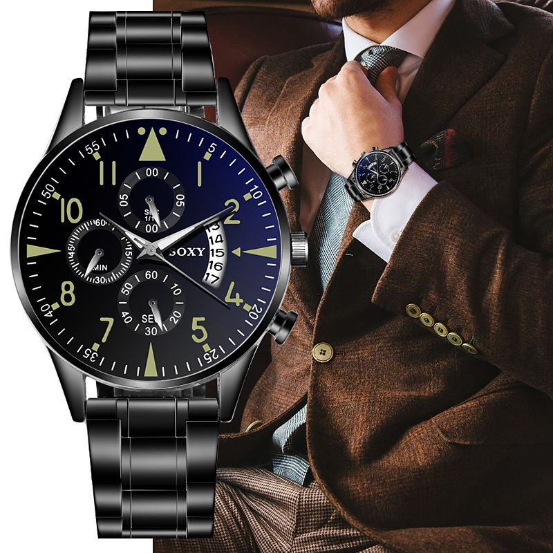 New Men's Watch 2019 Black Stainless Steel Quartz Auto Date Clock Mens Watches Top Brand Luxury Sport Watch Men Reloj Hombre