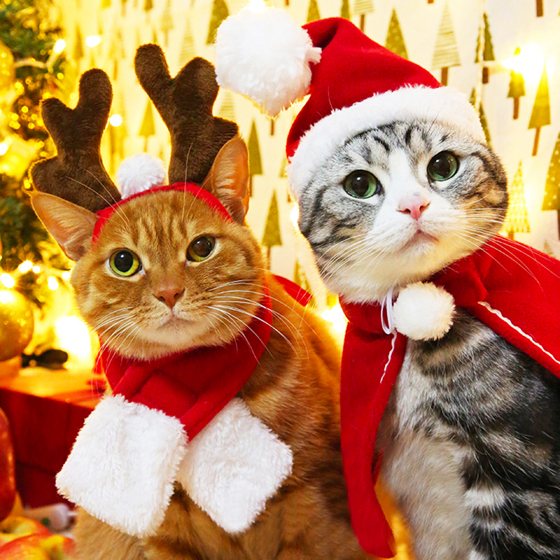 Pet Dog Cat Clothes Christmas Costume Cat Hat Scarf Cloak Dress Up For Kitten Puppy Small Dog Xmas New Year Costume Accessories 9