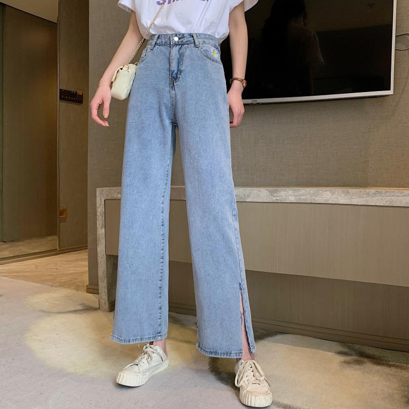 Woman Jeans High Waist Ripped Jeans 2020 Autumn Winter For Clothes Wide Leg Denim Clothing Blue Streetwear Fashion Vintage Pants