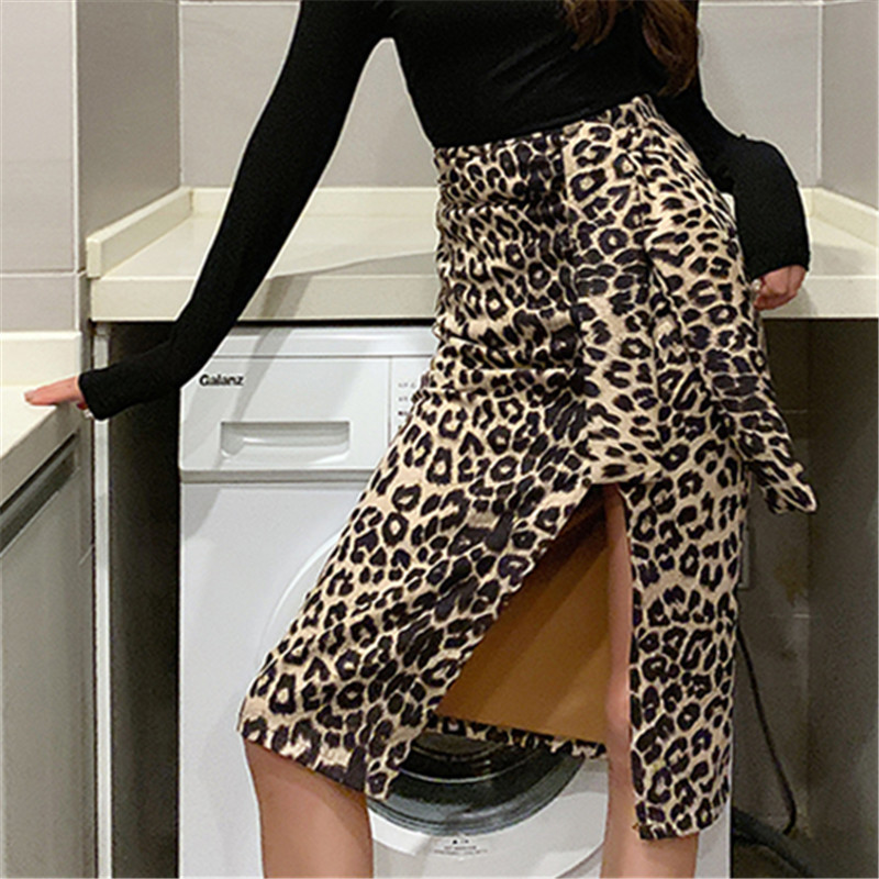 3003 # Photo Shoot 2019 New Style INS Hong Kong Flavor Retro Slit Leopord Pattern High-waisted Skirt