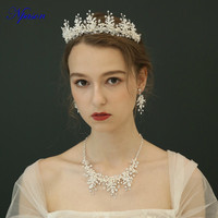 Pearl Hair Crowns Crystal Necklace Earrings Bridal Wedding Jewelry Sets Elegant Headwear Silver Jewelry Full Dress Accessories