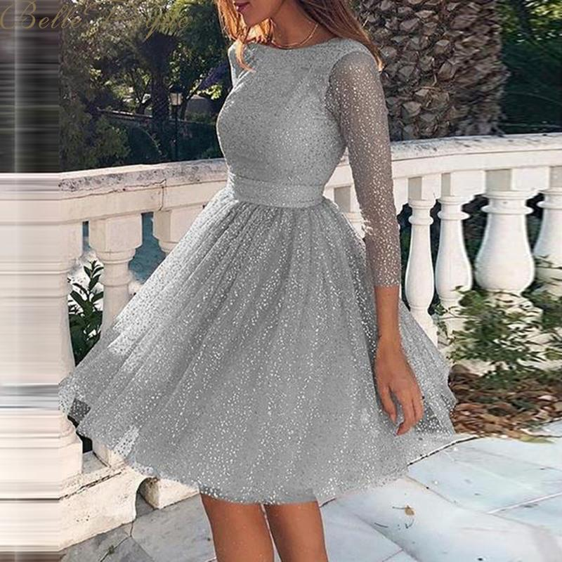 belle poque o neck long sleeve sequined party dresses women Sexy lace streetwear midi dress female 2020 spring dress vestido 1