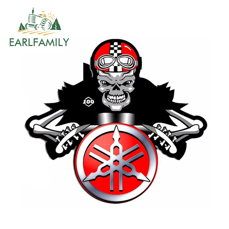 EARLFAMILY 12cm X 10cm VINYL STICKERS For YAMAHA SKULL RED AUTO MOTO CAR HELMET MOTORCYCLE TUNING Car Stickers