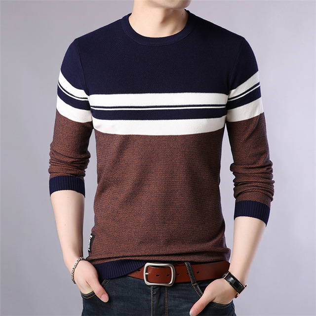 Mens Pullover Autumn Wool Slim Fit Knitted Sweater O-Neck Striped Mens Brand Clothing Casual Pull Homme SA688