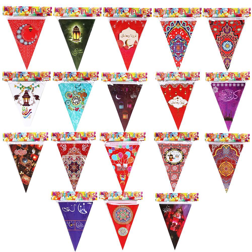 2020 EID MUBARAK треугольный баннер мусульманский праздник вечевечерние Луна Звездный баннер настенный Рамадан Mubarak Декор