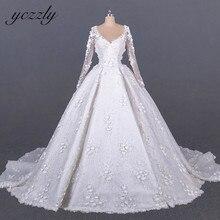 ערב ערבית שמלת כלה בציר V צוואר ארוך שרוולי כדור שמלת חתונת שמלת פלוס כבוי לבן תחרה פרחים YW276