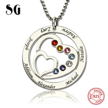 Authentic Sterling Silver 925 Moms Heart Necklace with Family Names & Birthstones Personalized Custom Jewelry New Arrival