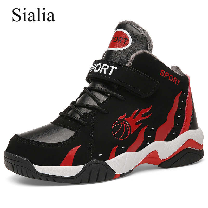 Sialia Winter Children Shoes For Kids Sneakers Sport Boys Shoes Girls Sneakers Warm Plush Outdoor School Basketball Footwear