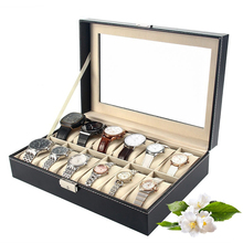 6/10/12 Slots PU Leather Watch Box Case Professional Holder Organizer for Clock Watches Jewelry Boxes Case Display Hot 10 grid slots watch box luxury leather display watches boxes square jewelry storage case organizer holder relojes winder new