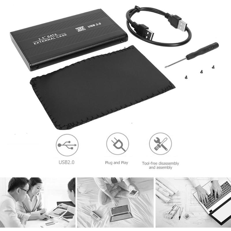 2.5 inch USB 2.0 to SATA HDD Case Hard Disk Drive Box External 480Mbps SSD Hard Drive Enclosure