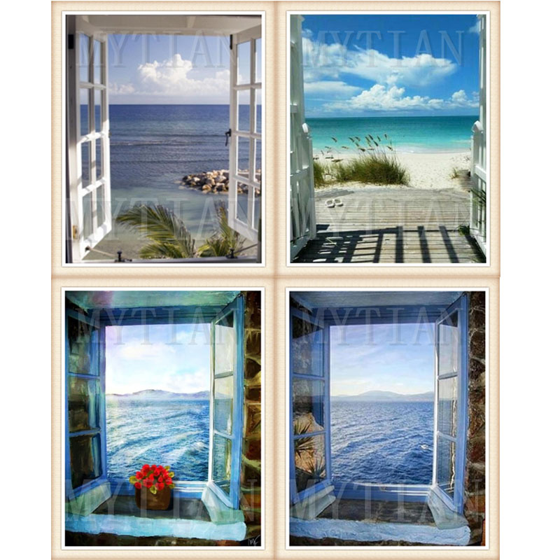 Full Square Round DIY Diamond Painting Window Frame Style Beautiful Lanikai Beach Hawaii Sunrise 5D Diamond Embroidery home gift image