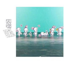 Lovely Rabbit Metal Cutting Dies and Clear Stamps for DIY Scrapbooking Card Dies Cut Stencils Paper Crafts Photo Album Decor merry christmas trees sticker painting stencils for diy scrapbooking stamps home decor paper card template decoration album