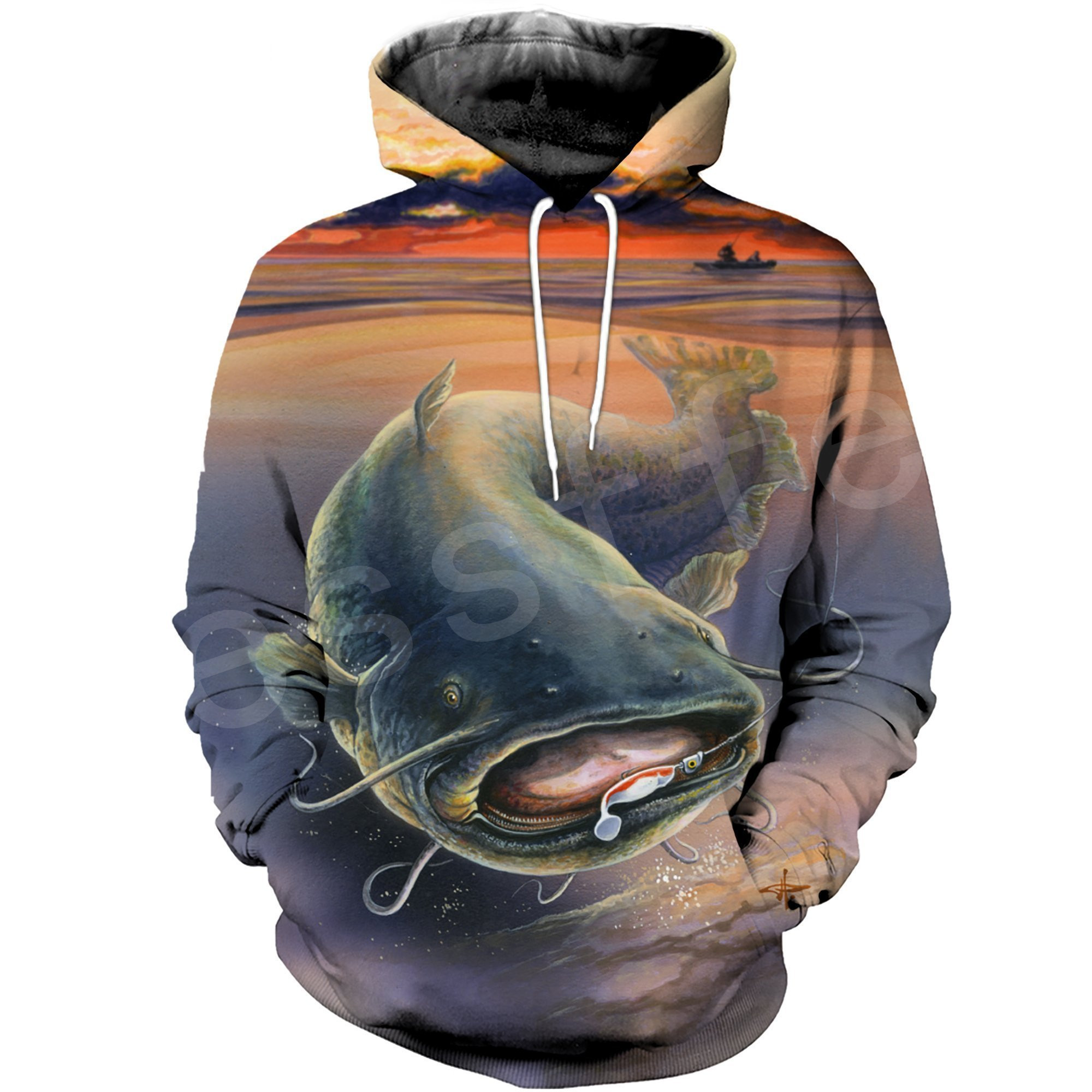 Tessffel New Fashion Animal Fishing Art Harajuku casual Tracksuit Funny 3D Print Zipper/Hoodie/Sweatshirt/Jacket/Mens Womens s-1