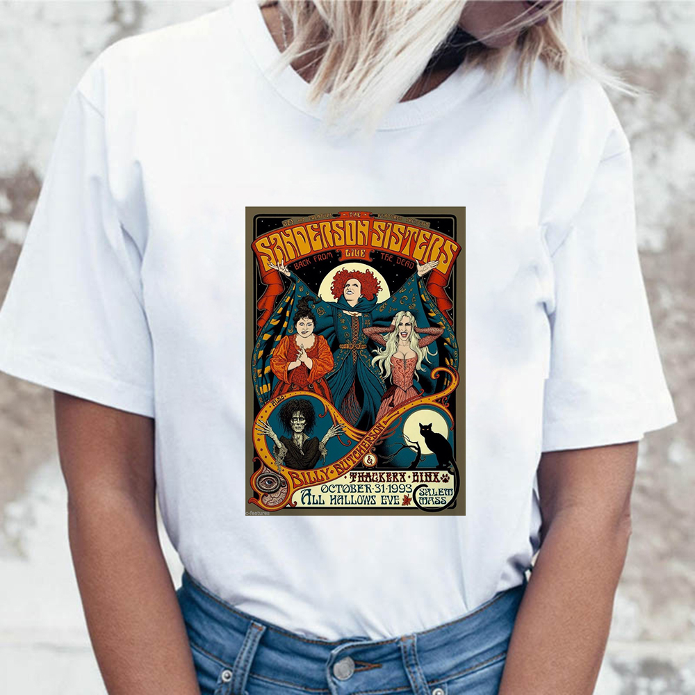 Hocus Pocus Horror T <font><b>Shirt</b></font> Women <font><b>Sanderson</b></font> Sisters Print Summer Halloween Top Female Tshirt Casual Short Sleeve Vogue T-<font><b>shirt</b></font> image