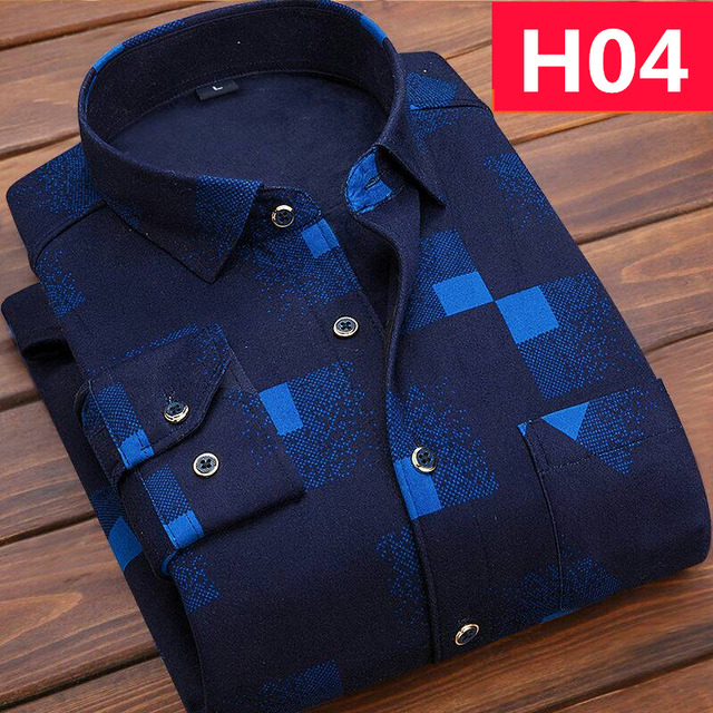 Casual Long Sleeve Plaid Warm Fleece Lining Shirts For Men Winter Thick Velvet Dress Shirt Fashion Soft Flannel Plus Size L-4XL
