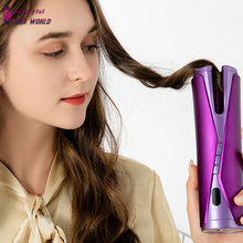 Cordless Automatic Hair Curler Electric Ceramic Curling Iron Machine USB Rechargeable Curls Waves LCD Display Rotate Wave Styler