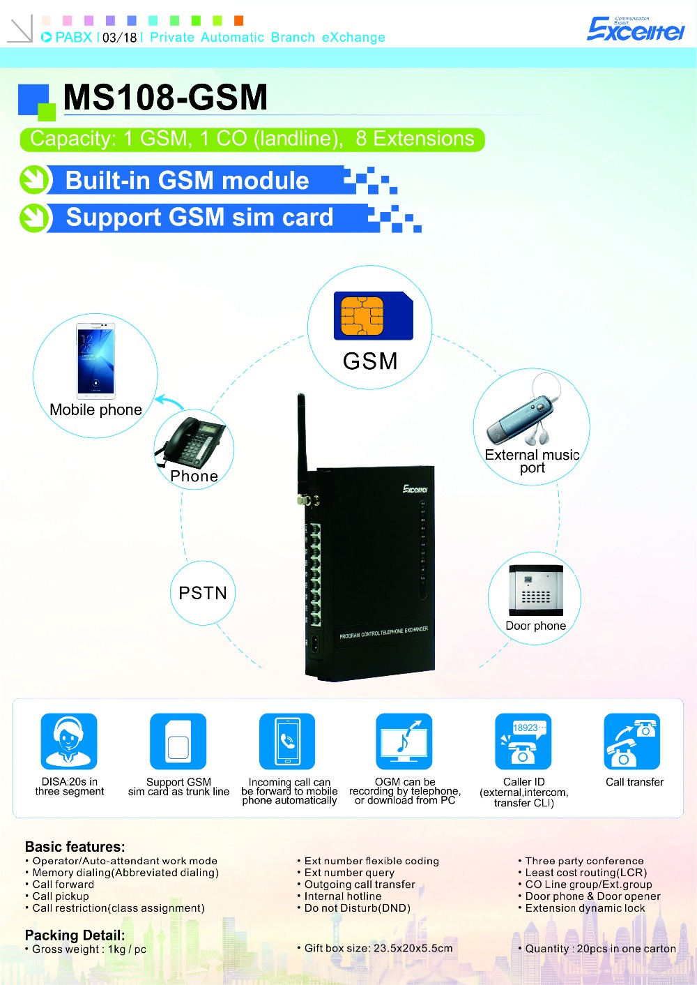 Excelltel Wireless Telephone Exchange Ms108 Gsm 1 Co Line 8 Extensions With 1 Sim Card Gsm Pbx Aliexpress