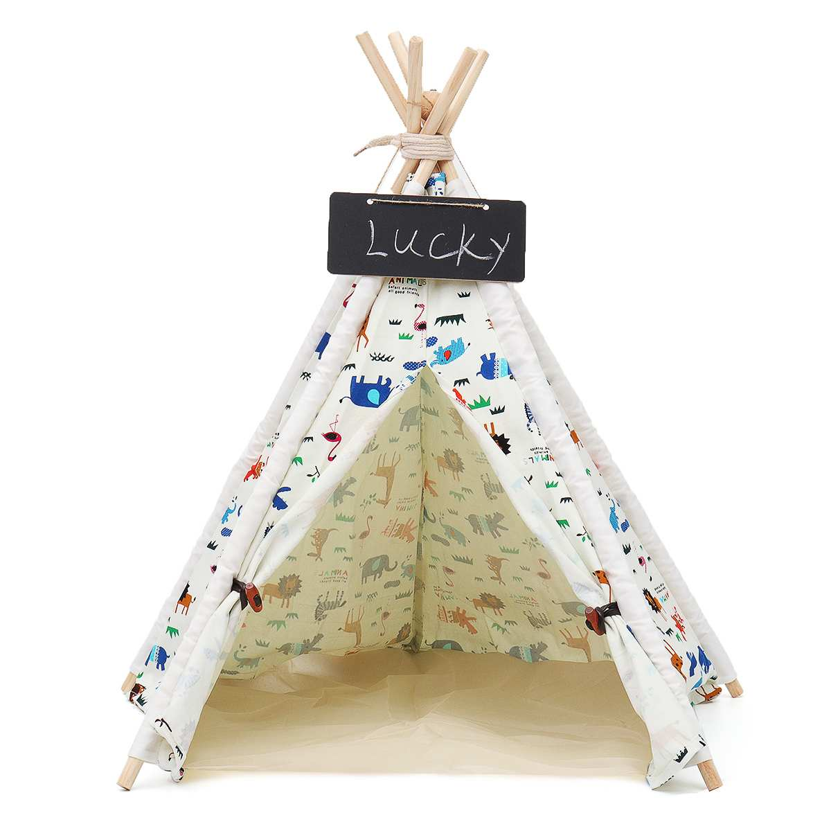 Play-Tent Teepee House Wigwam Room Children's Tent Game-House Tipi Triangle KidsTent Teepee Canvas Sleeping Dome