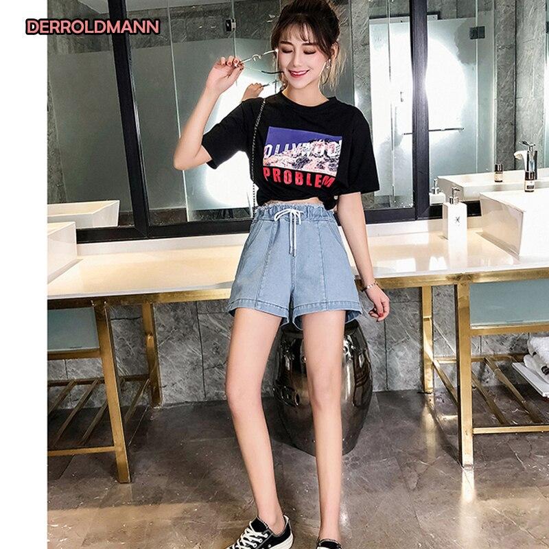 Women Shorts Pants High Waist Wide Leg Pants Korean Denim Solid Color Large Size Jeans Women With Fashion Pockets