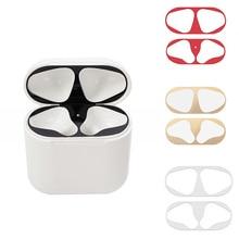 Металлическая Пыль Защита для Airpods стикер Apple аксессуары для кожи чехол зарядка защитная коробка для Airpods 2 Air Pods Airpods2 наклейка