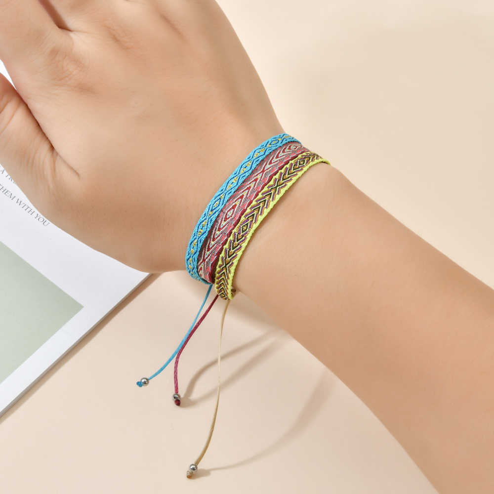 ZMZY hechos a mano nuevos pulsera de cuerda Boho colombiano Wayuu pulsera de la suerte tibetana brazaletes de cuerda y pulseras para mujer y hombre regalo étnico