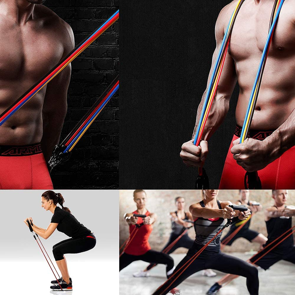 11PCS Resistance Bands Set Bodybuilding Home Gym Equipment Professional Weight Training Fitness Elastic Rubber Bands Expander 4