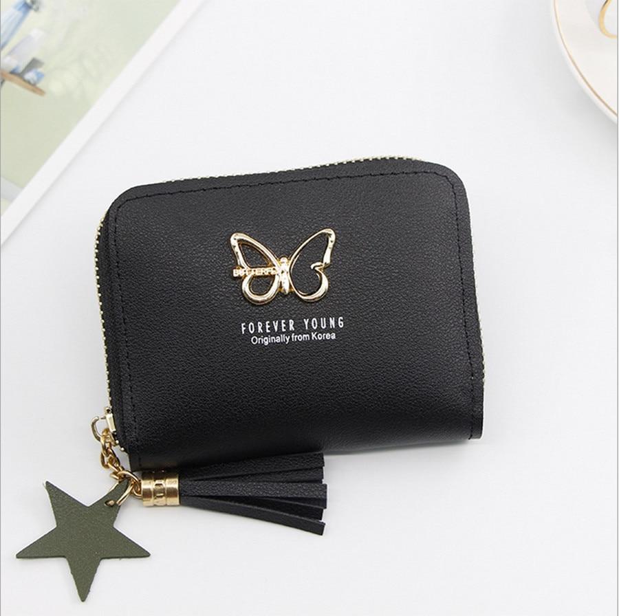 Ladies Wallet Cute Student Tassel Pendant Small Fashion PU Wallet 2019 Coin Purse Lady Card Bag