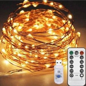 Рождественский светильник 5/10 м водонепроницаемый Сказочный светильник с дистанционным управлением с usb-управлением, 8 режимов, таймер, свет...