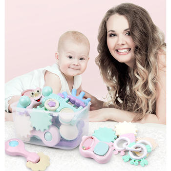 Baby Silicone Teether Soft Rattles Toys Hand Hold Jingle Shaking Bell Hand Ring Newborn Infant Educational Toys 13 PCS With Box недорого