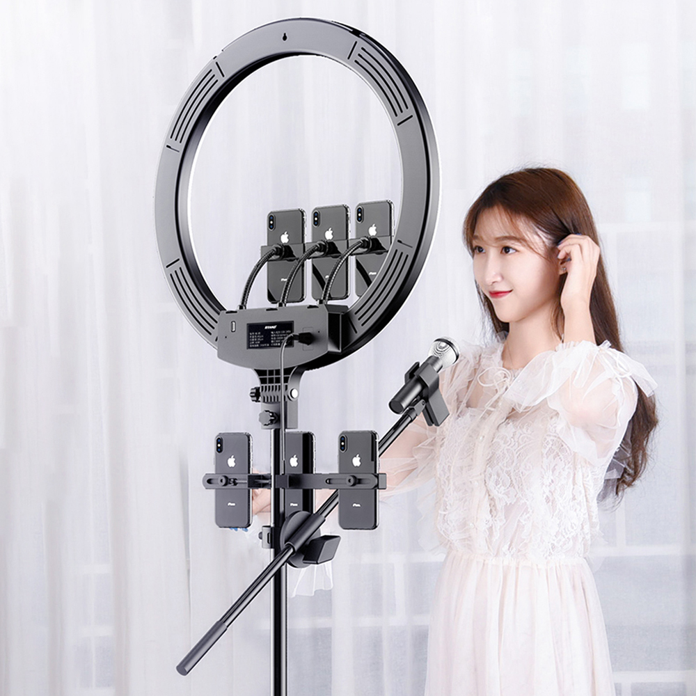MAMEN 18 inch Selfie Ring Light 45cm Video Studio Photography Lighting LED Dimmable Camera Photo For Youtube Live Streaming Lamp image