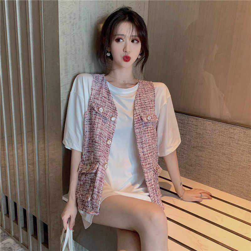 2020 Nieuwe Zomer V-hals Mouwloze Jassen Vrouwen Chic Fashion Zoete Zakken Losse Roze Vest Enkele Breasted Vest One Size