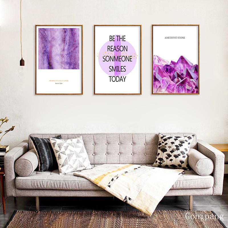 Aesthetic Purple Crystal Stone English Letter Decorative Painting Bedroom Wall Art Canvas Painting Home Decor Poster And Prints Painting Calligraphy Aliexpress