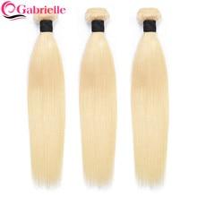 Gabrielle cabello rubio 613 mechones recto brasileño extensiones de cabello humano Remy extensiones de pelo ondulado mechones 10-30 largo pulgadas 1/3 Uds
