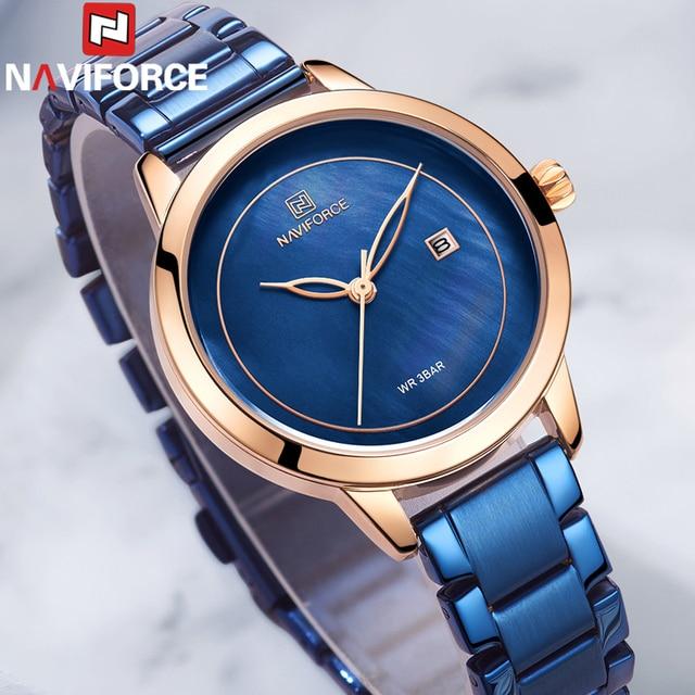 NAVIFORCE Women Watches Top Brand Luxury Ladies Wristwatch Stainless Steel Classic Bracelet Female Clock Relogio Feminino 5008