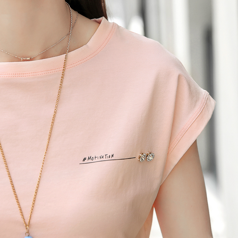 2019 New summer fashion blouses top Ladies Solid Short Sleeve Pink Camisetas Feminina plus size Letter womens clothing 2299 50 in Blouses amp Shirts from Women 39 s Clothing