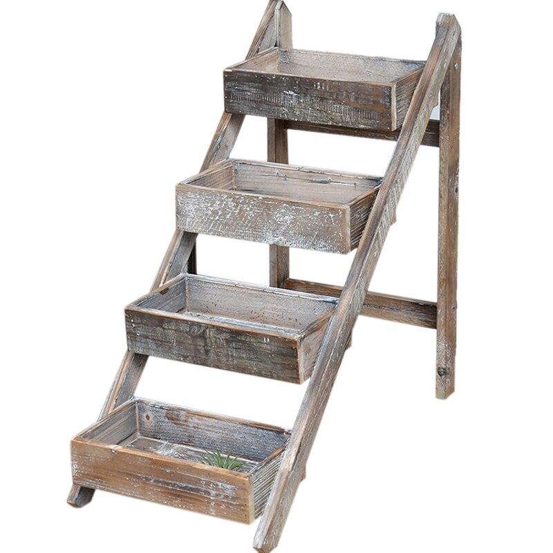 4 Tier Handmade Folding Vintage Rustic Display Wooden Ladder Shelf Storage Holders Racks Aliexpress