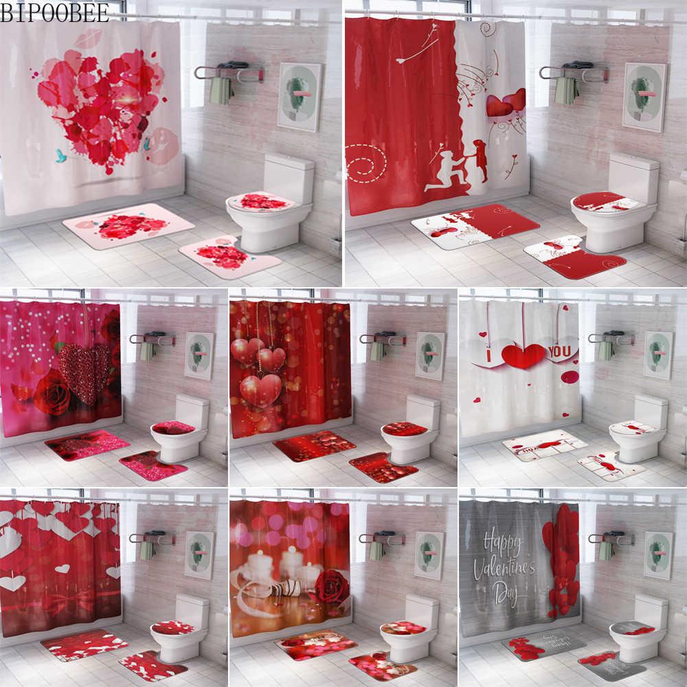 rideau de douche impermeable rose ensemble de tapis d amour housse de toilette moquette de bain drap de salle d eau cadeau de la saint valentin