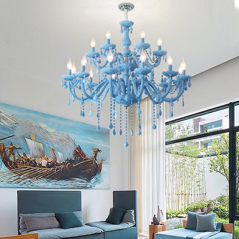 Lustre moderne chambre d'enfants lustres chambre d'enfants pépinière princesse lampe suspendue maison d'intérieur couleur bleu ciel chambre de filles
