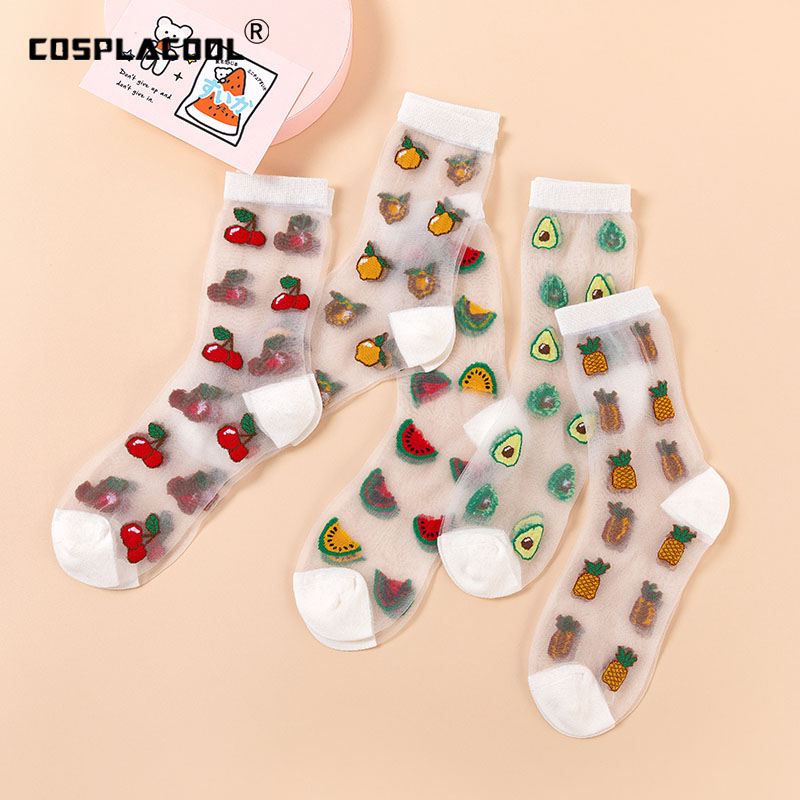 Transparent Fruit Pattern Funny Socks Women Kawaii Design Cherry Avocado Orange Harajuku Thin Glass Silk Cute Calcetines Mujer