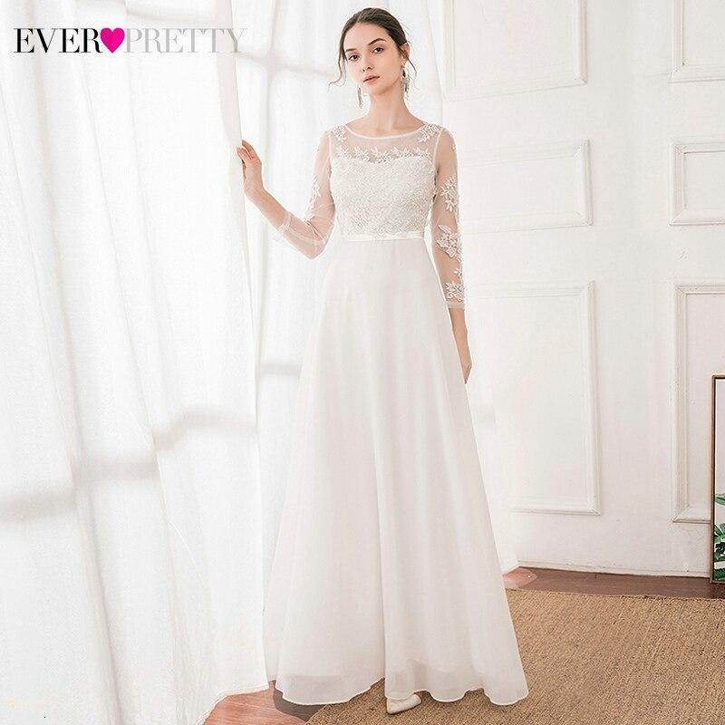 Elegant White Wedding Dresses Ever Pretty EP00867WH A-Line O-Neck 3/4 Sleeve Appliques Illusion Bride Gowns Vestidos Elegantes